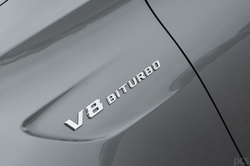 Detail Schriftzug Mercedes-AMG C63S Cabrio