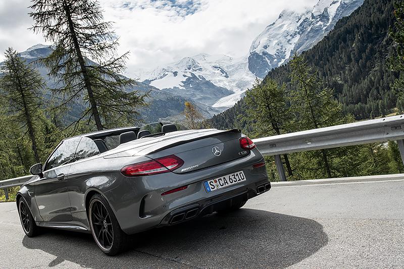 Mercedes-AMG C63S Cabrio Monteratsch Gletscher Pontresina Schweiz
