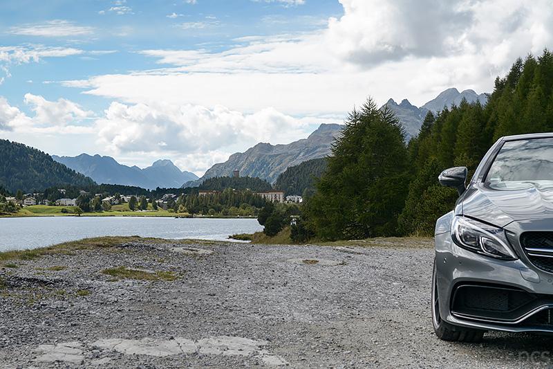 Mercedes-AMG C63S Cabrio Silsersee Engadin Schweiz