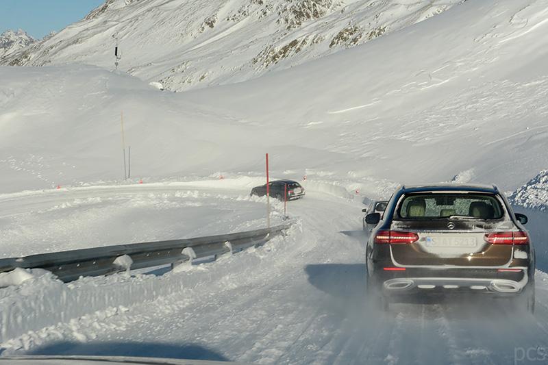 Testfahrt Schnee Winter Mercedes E-Klasse All-Terrain