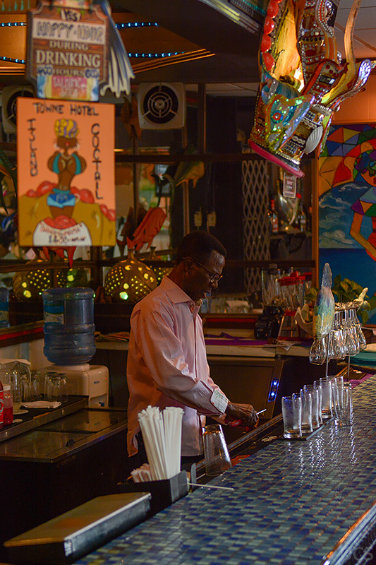 Barkeeper Lucky Talking Stick Bar Nassau Bahamas