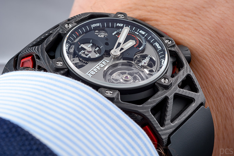 hands on hublot techframe ferrari tourbillon chronograph. Black Bedroom Furniture Sets. Home Design Ideas