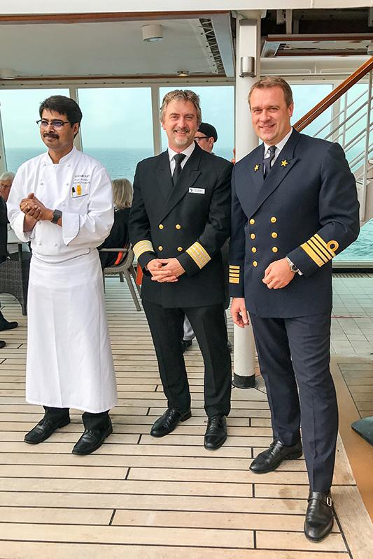 Seabourn Quest Chefkoch Rajat Adhikary, Hoteldirektor Peppi Schuppler und Kapitän Joost Eldering
