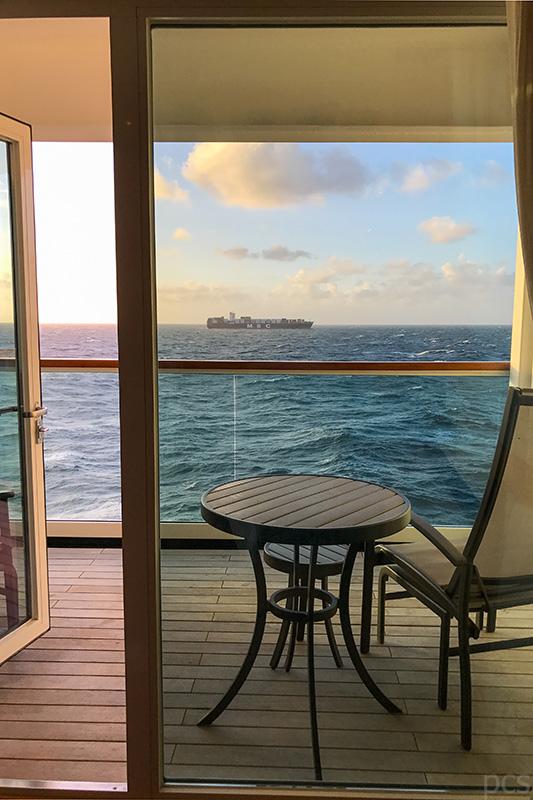 Meerblick von der Veranda Suite 718 des 5-Sterne Schiffs Seabourn Quest