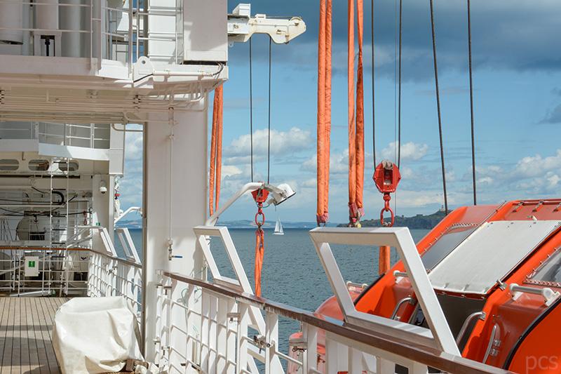Blick auf das Bootsdeck der Seabourn Quest