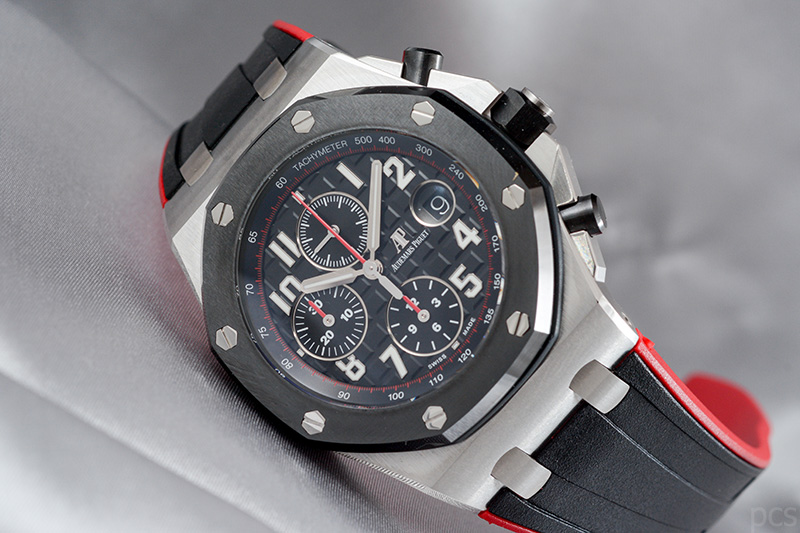 Schwarz-Roter Audemars Piguet Royal Oak Offshore Chronograph 42mm, Ref. #26470SO.OO.A002CA.01