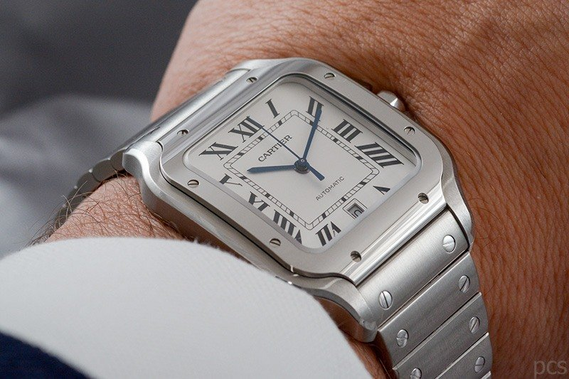 Wristshot Santos de Cartier, großes Modell in Edelstahl