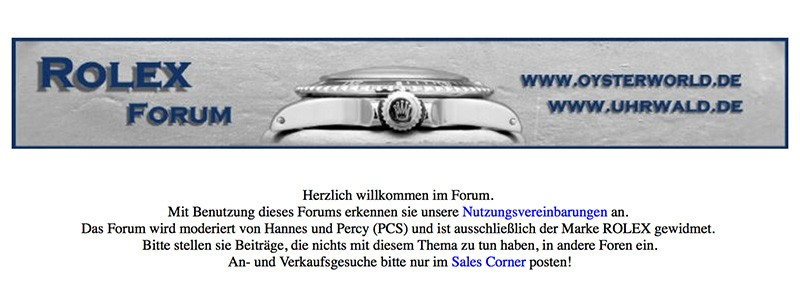 Das Rolex Forum Screenshot 2003