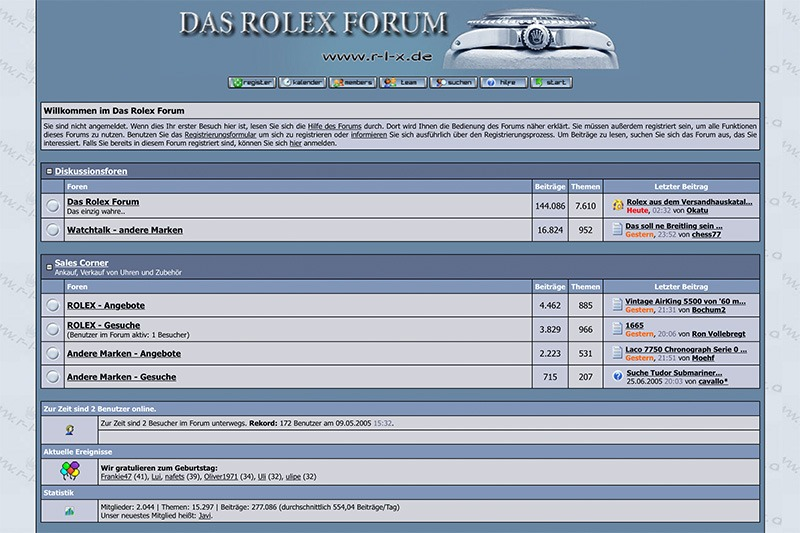 Das Rolex Forum Screenshot 2005