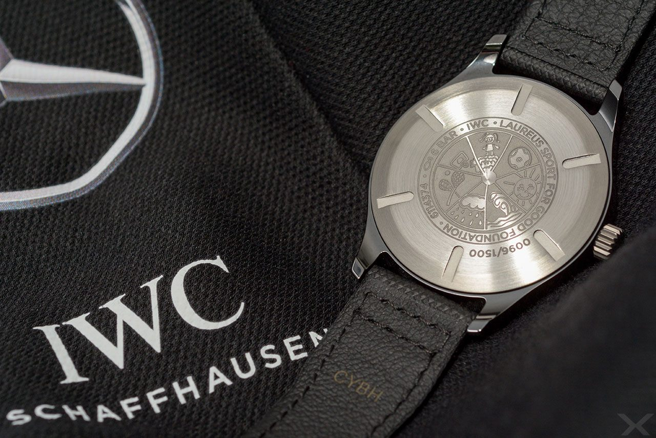 Rückseite Gravur IWC Mark XVIII Laureus Award 2018